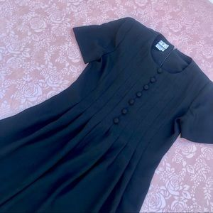 Vintage Button Down Dress Black DW3 Short Sleeved